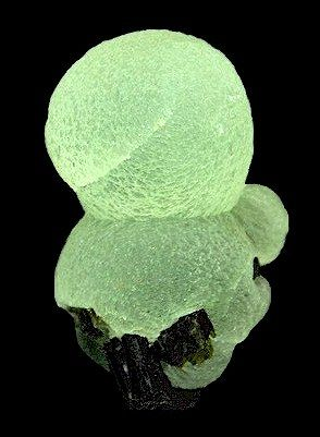 Crystalline spheres of translucent Prehnite atop dark green Epidote!  From Bendoukou, Sandare District, Kayes Region, Mali.  Measures 4 cm by 2.8 cm in size.