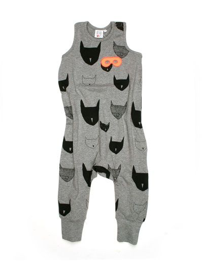Meleegrijs jumpsuit met zwarte poezenprint - Beau Loves
