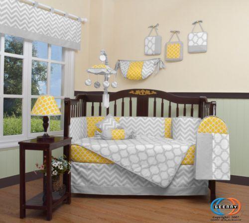 Baby Nursery: Baby Yellow And Gray Chevron 13 Piece Nursery Crib Bedding Set -> BUY IT NOW ONLY: $99.99 on eBay!