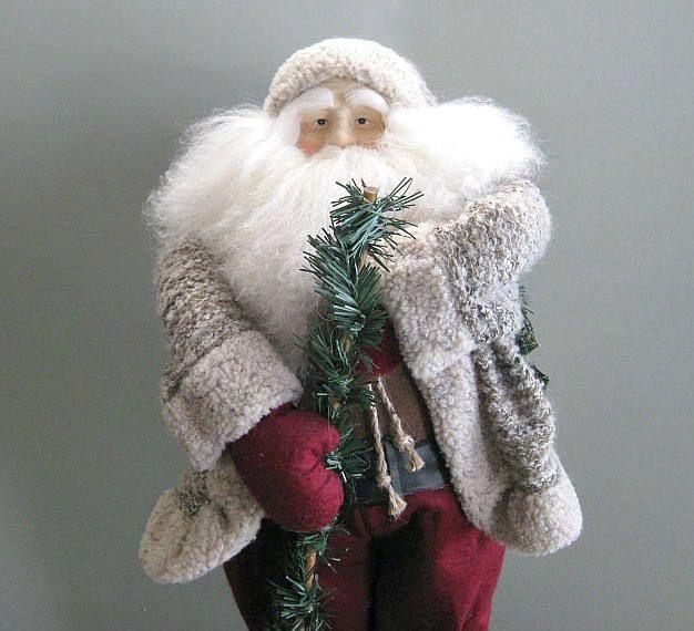 Santa Claus Doll Santa Decoration Santa Decor Father Christmas Doll Collectible Santa Doll Large Santa Art Doll Country Christmasinjuly by afloralaffair on Etsy
