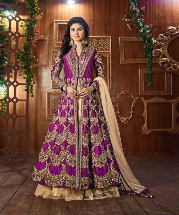Mouni Roy Purple Net Indo Western Lehenga Choli 79293
