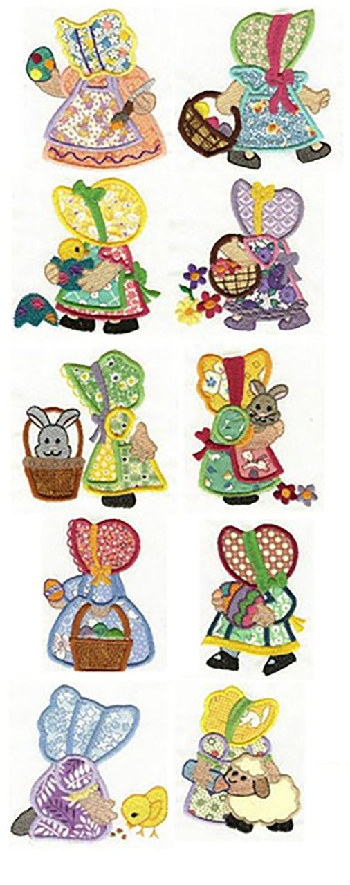 Easter Sunbonnets Applique design set now available for instant download at www.designsbyjuju.com