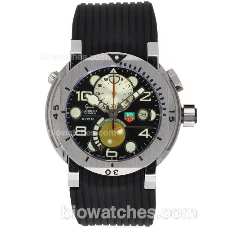 a5491f306e6 Tag Heuer Grand Carrera Calibre 36 Working Chronograph with Black  Dial-Rubber Strap