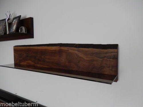 wandboard nussbaum massiv holz board regal glasregal. Black Bedroom Furniture Sets. Home Design Ideas
