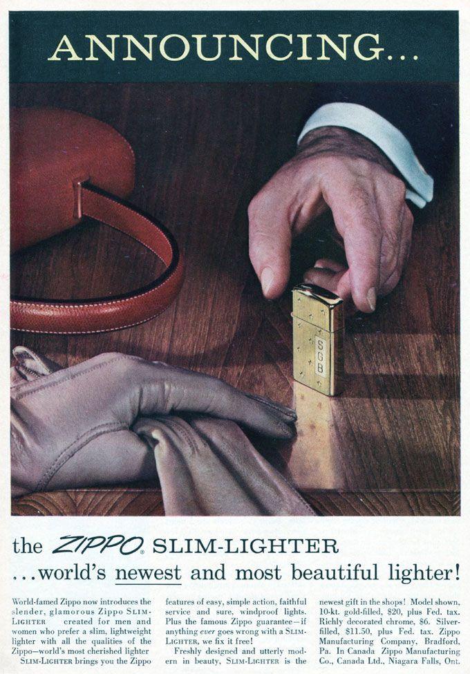 1957 Zippo slim lighter vintage advertisement