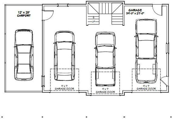 40x30 3 Car Garage 2065 Sq Ft Pdf Floor Plan Instant Etsy Car Garage Garage Dimensions 3 Car Garage