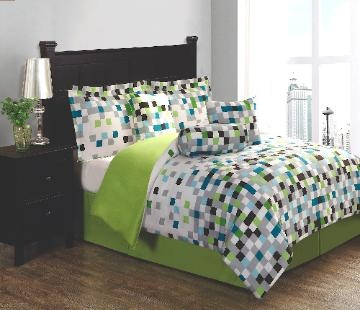 Pixel Bedding (Bed in a Bag) Earthy green, brown and aqua colors combined into a digital geometric pattern to make Pixel. This easy care pattern is perfect for that room that needs some excitement. Get everything you need to transform you bed all in one package.