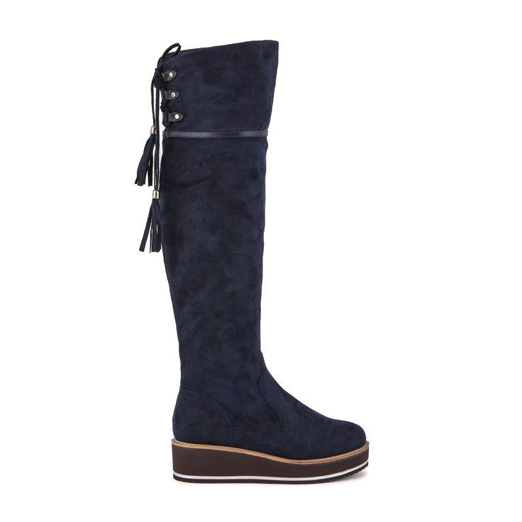 Μπότες μπλε σουέτ με κορδόνια στο πίσω μέρος Από €49,99 ΤΩΡΑ €29,99!