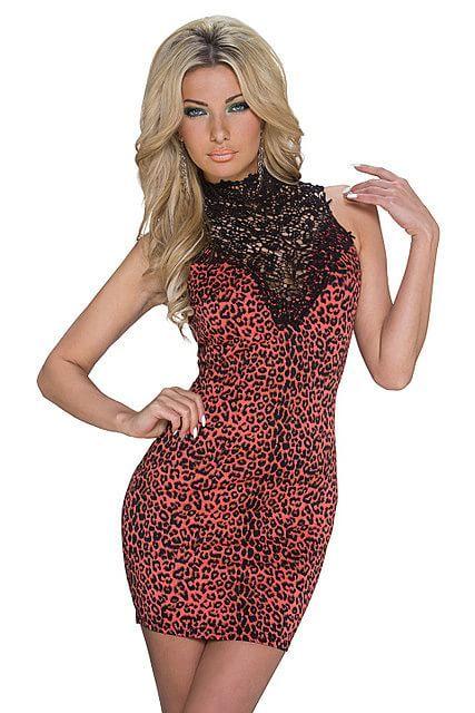 Vestido corto mini ajustado cuello alto cisne de encaje transparente estampado animal leopardo | Naranja Salmón, Negro | Emamoda