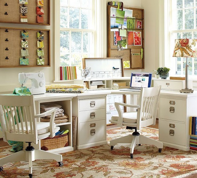 Home Desk Design Ideas: Contemporary Bright Light Natural Home Office Sewing Room