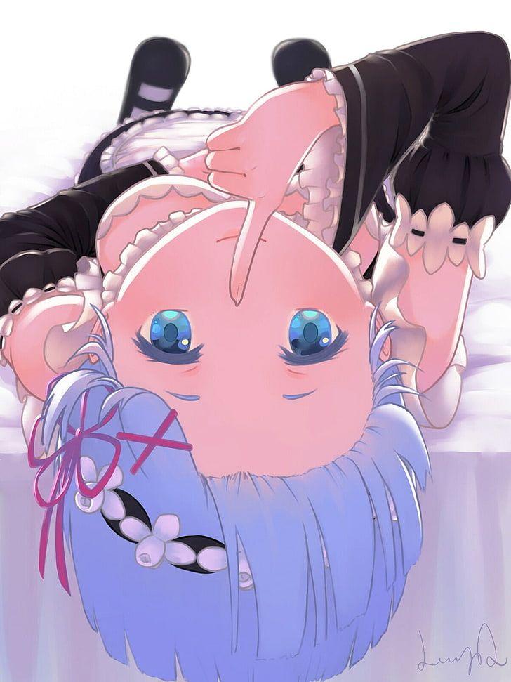 girl anime character raising index finger in front of lips, Re:Zero Kara Hajimer…