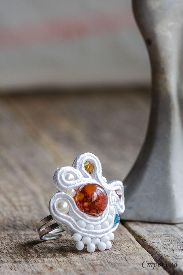 White Ring with carnelian for  Princess)  from Strekoza https://vk.com/you_strekoza