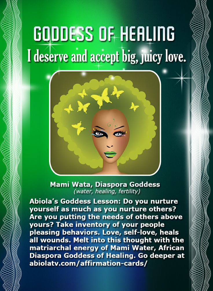 "Today's #SelfLove Affirmation Card from African Goddess Mami Wata! ""I deserve…"