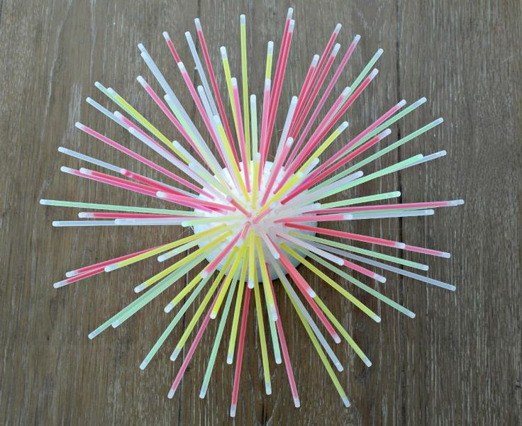 Glow in the Dark DIY Glow Stick Centerpiece  needs a pack of 100 plus 1/2 styrofoam ball