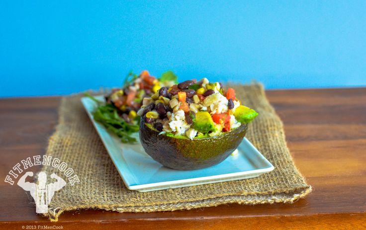 Tilapia Stuffed Avocado with Black Beans Corn #fitmencook fitmencook.com