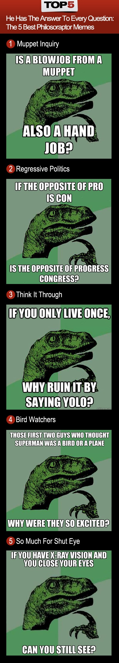 He has the answer to every question the 5 best philosoraptor memes top5