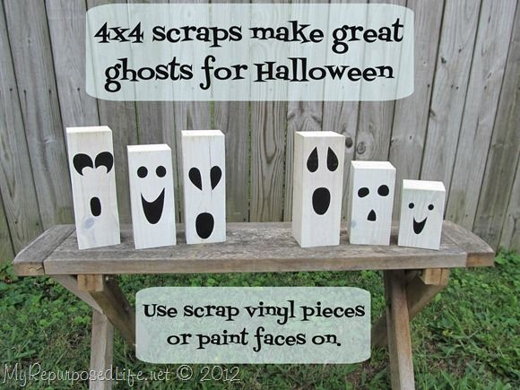 use scrap wood and vinyl pieces to make Halloween decor-perfect project to do with the kids.  I would use pain instead of vinyl littles would love this!