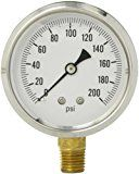 """Early Bird Special: PIC Gauge S201L-254G Glycerin Filled Industrial Bottom Mount Pressure Gauge with Stainless Steel Case Brass Internals Plastic Lens Single Scale 2-1/2"""" Dial Size 1/4"""" Male NPT Connection Size 0/200 psi Range  PIC S201L 254G Industrial Stainless Connection  Expires Mar 16 2018"""
