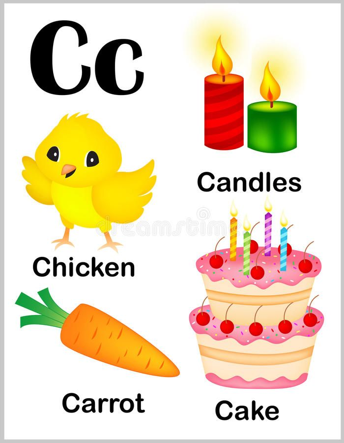 illustration about cute and colorful alphabet letter c with set of illustrations and words printable sheet