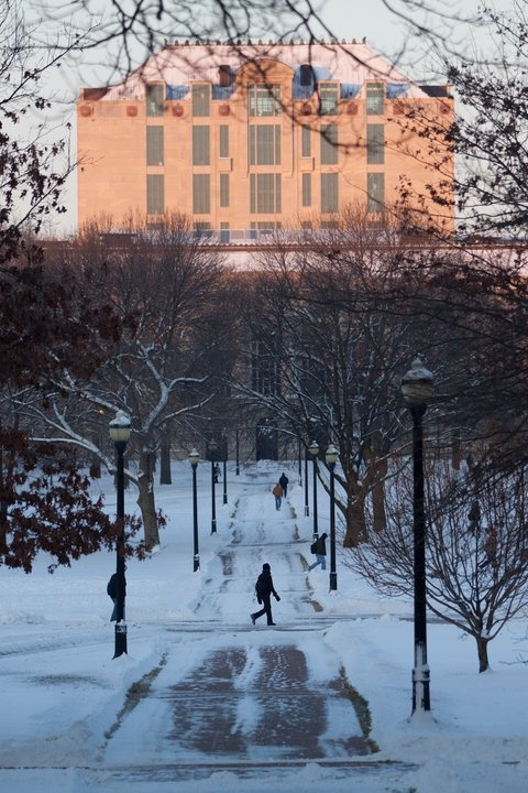 Snowy Ohio State University campus