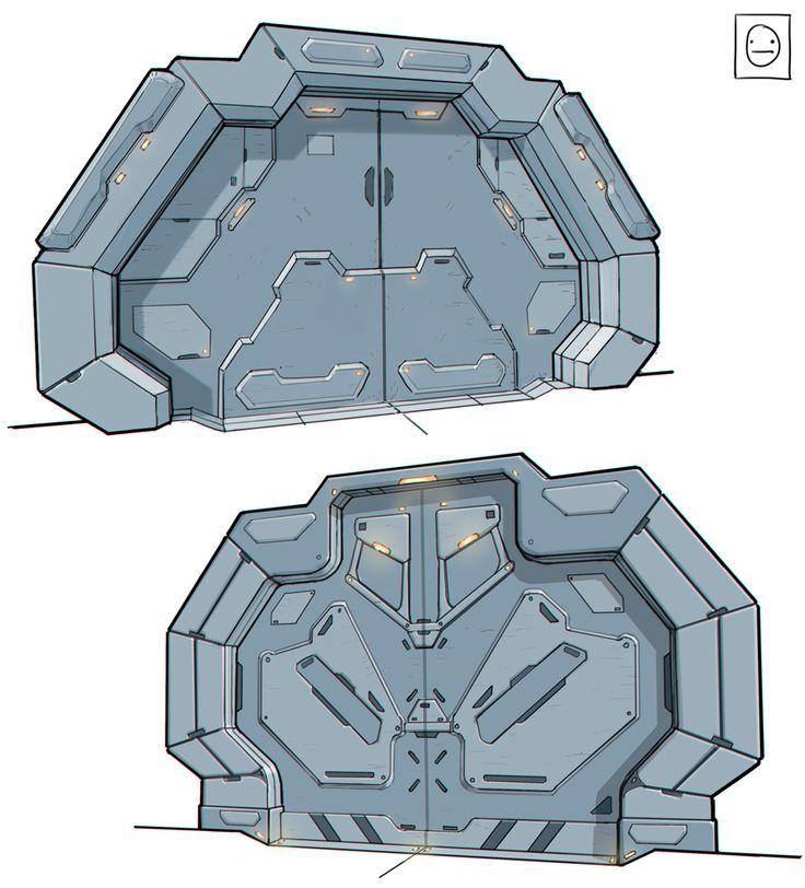 Concept art blog scifi doors conceptart pinterest geb ude - Several artistic concepts for main door ...