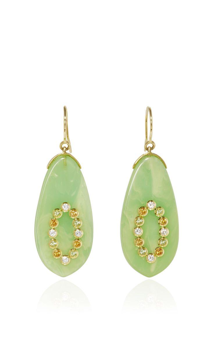 Bakelite Earrings With Diamonds And Spessartite Garnet And Peridot by MARK DAVIS for Preorder on Moda Operandi