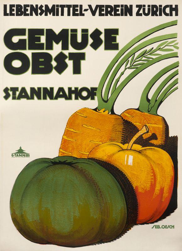 Gemuse Obst - Lebensmittel Verein Zurich Stannahof by Oesch, Albert-Sebastian |  Shop original vintage #posters online: www.internationalposter.com.