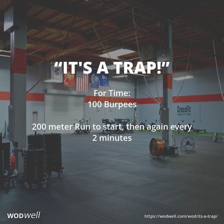 """""""IT'S A TRAP"""" Benchmark WOD from CrossFit Darkside: For Time: 100 Burpees; 200 meter Run to start, then again every 2 minutes"""