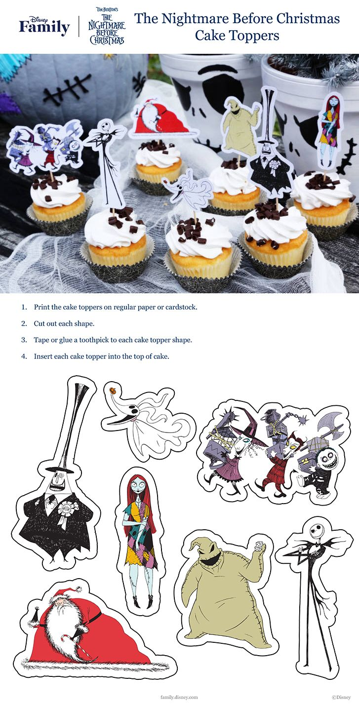 The Nightmare Before Christmas Cupcake Toppers | Halloween with Tim ...