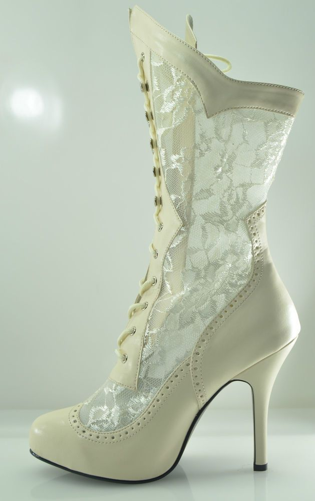 Plus Size Wide Width Victorian Lace Ankle Boot Wedding Shoe 7 - 13  Ivory White #PLEASER #Boots