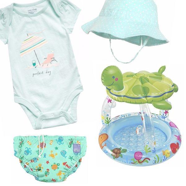 Comoda tutina di cotone dai colori tenui, come il cappellino per proteggersi dal sole. Per il bagnetto, un costumino contenitivo sempre sui toni del verde, ed una divertente ed originale piscinetta con una grande tartaruga che fa da parasole.