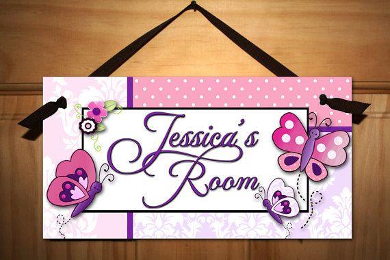 Pretty Purple and Pink Damask Butterfly Girls Bedroom Baby Nursery Kids DOOR SIGN Wall Art
