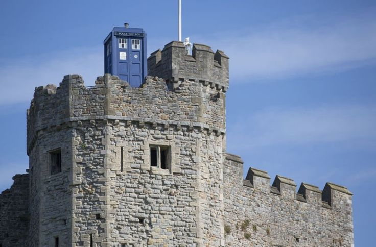 The TARDIS appears on the top of Cardiff Castle ahead of the Doctor Who premiere at St David's Hall in Cardiff, Wales