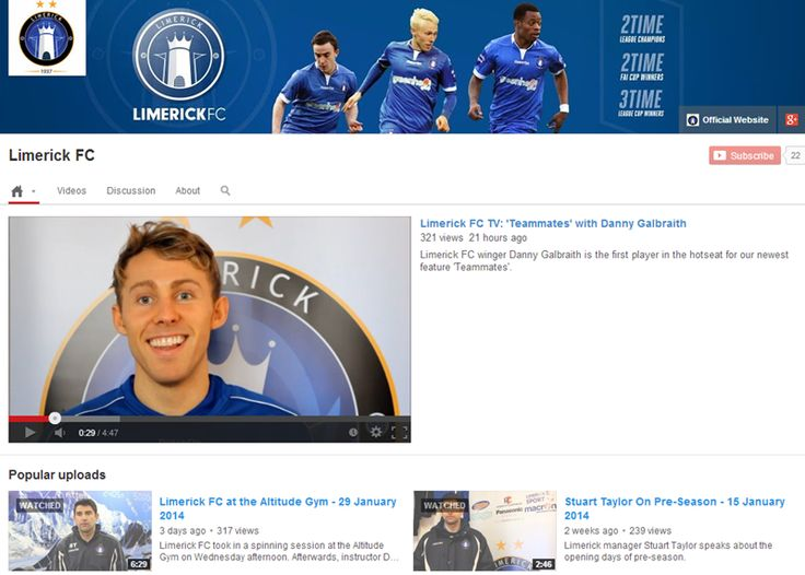 Our YouTube Channel is growing. Subscribe now to keep up-to-date with our latest videos! http://www.youtube.com/user/OfficialLimerickFC