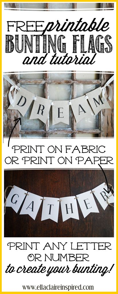 Create your own bunting with this free printable! All letters, numbers and an ampersand! Also, a tutorial for how to print them on paper or fabric. This would be so cute for birthdays, holidays, and home decor!