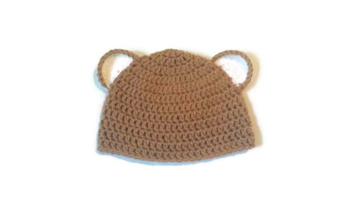 Excited to share the latest addition to my #etsy shop: Brown Bear Beanie Hat, Baby Ears Cap, Teddy Bear Hat, Infant First Cap, Premature to 3 to 6 month old, Custom colors available http://etsy.me/2tnOmXL