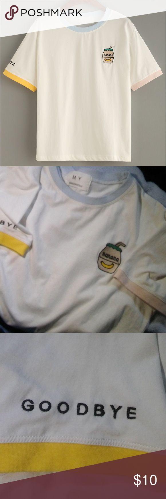 Banana milk shirt🍌 - like new  - only worn few times - clean  - fresh fabric  - stretchy  - cute   Tags: banana , milk , kawaii , shirt , Korean , fashion Tops Tees - Short Sleeve