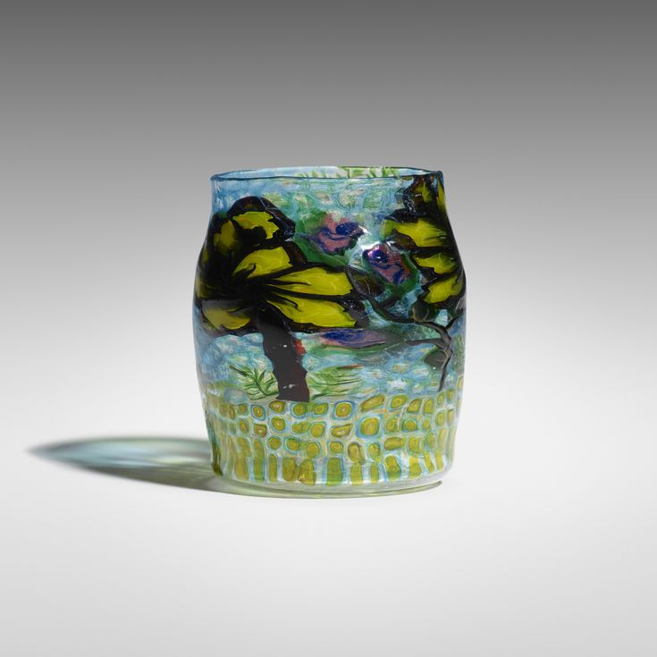 Lot 43: Ercole Barovier. Vetro Mosaico vase. c. 1919, internally decorated glass with murrines and polichrome rods. 3¼ dia x 4 h in. estimate: $30,000–50,000. Signed with murrine to underside: [AB]. Provenance: Private Collection, New York