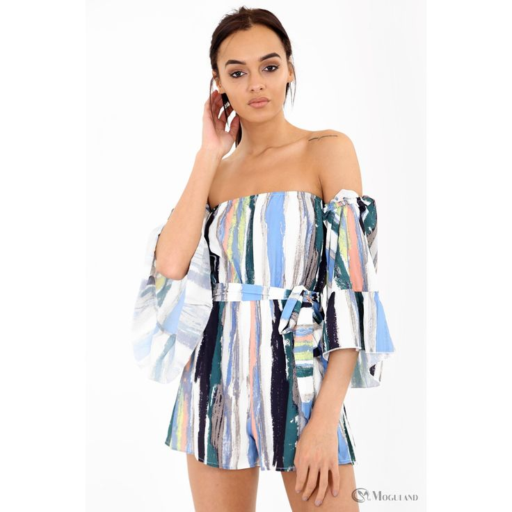 Ladies multi-colour paint stripe effect off the shoulder playsuit wholesale - new in;;playsuits  - Women's Wholesale Clothing Supplier