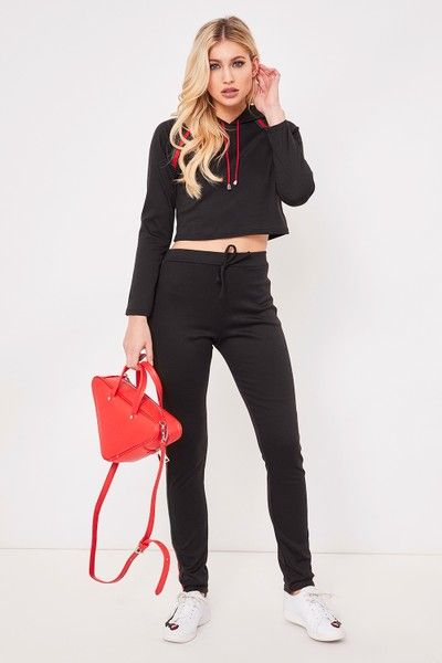 Vanessa Black Side Stripe Hooded Crop Loungewear Set