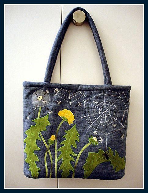 beautiful denim bag...dandelions... Текстильные фантазии и не только: Сумки из джинсов