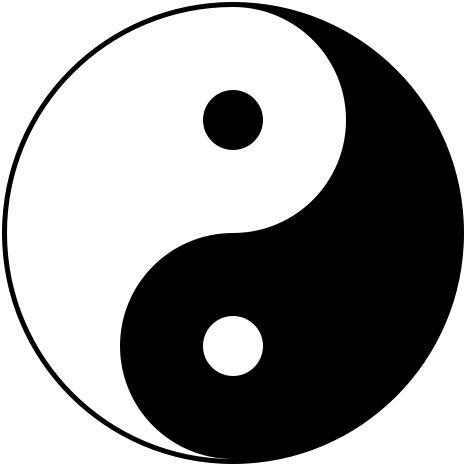 """Yin yang"" por Gregory Maxwell - From Image:Yin_yang.png, converted to SVG by Gregory Maxwell.. Licenciado sob Domínio público, via Wikimedia Commons - https://commons.wikimedia.org/wiki/File:Yin_yang.svg#/media/File:Yin_yang.svg"