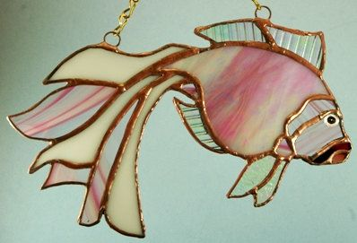 Handmade Stained Glass  Pink Lady Fish par glassnwood sur Etsy, $20,00