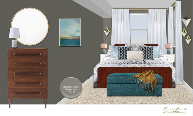 A small mid-century inspired bedroom for a virtual design client. Design and rendering by Linda Merrill. #virtual #design #edecor #edesign #mid-century #millennial #design #gray #small #white #teal