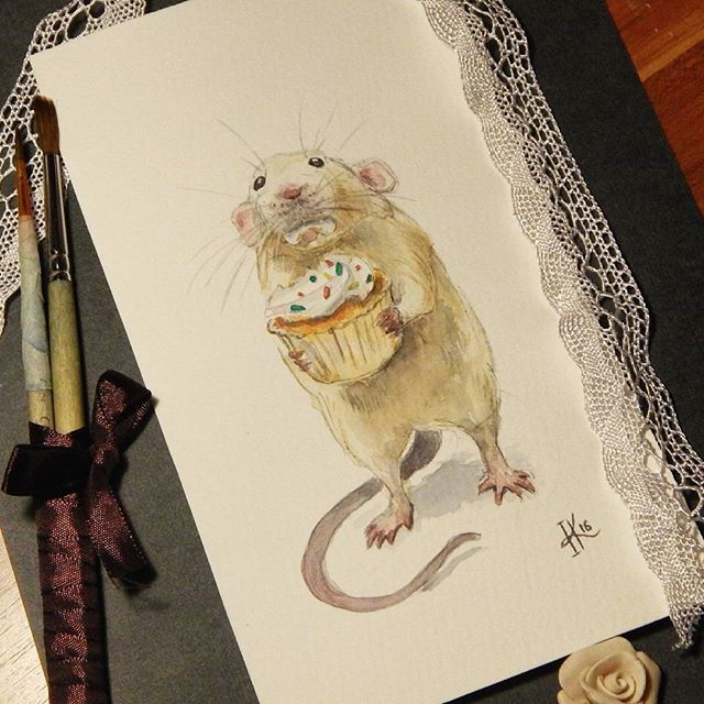 Wanna cupcake? Hope you don't mind I helped myself a little thou… Mouse Cupcake Illustration Watercolors