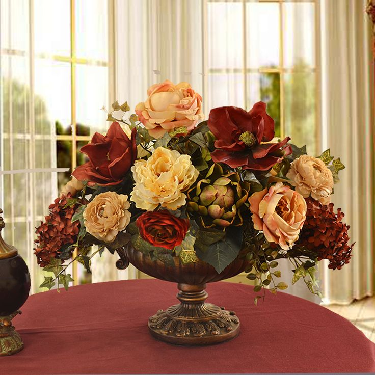 Burgundy and Cream Grande Silk Floral Centerpiece AR339 - Click Image to Close