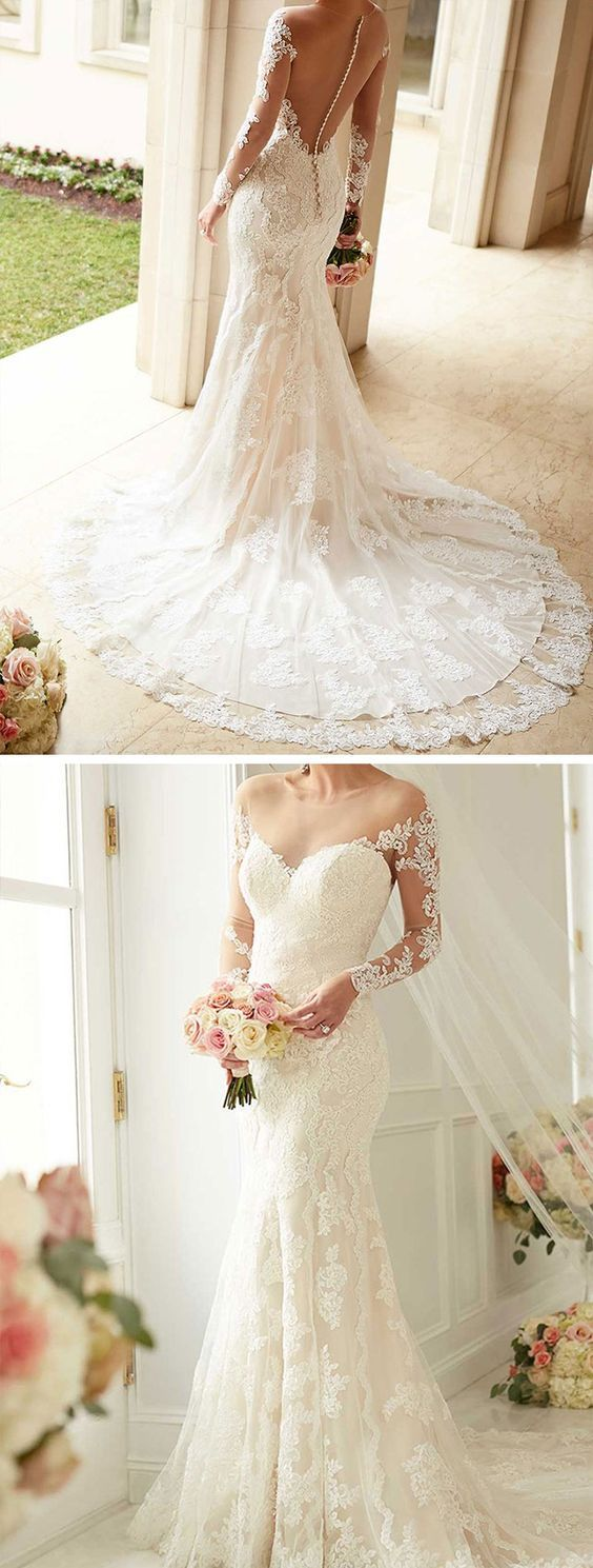 *** Fantastic deals on gorgeous jewelry at http://jewelrydealsnow.com/?a=jewelry_deals *** Lace Wedding Dresses Elegant Bridal Gowns New White with long sleeves mermaid…