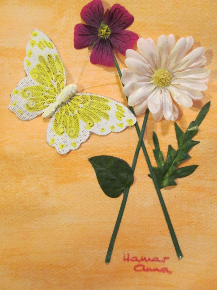 Virágok pillangóval. 3D.