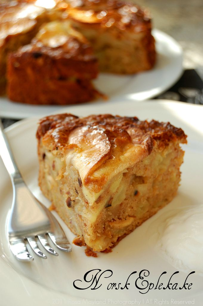 Norwegian Apple Cake. Norwegians are clever people. :o) One of my favourite cakes to bake! One in the oven right now - made with conference pears instead of apples. :o)