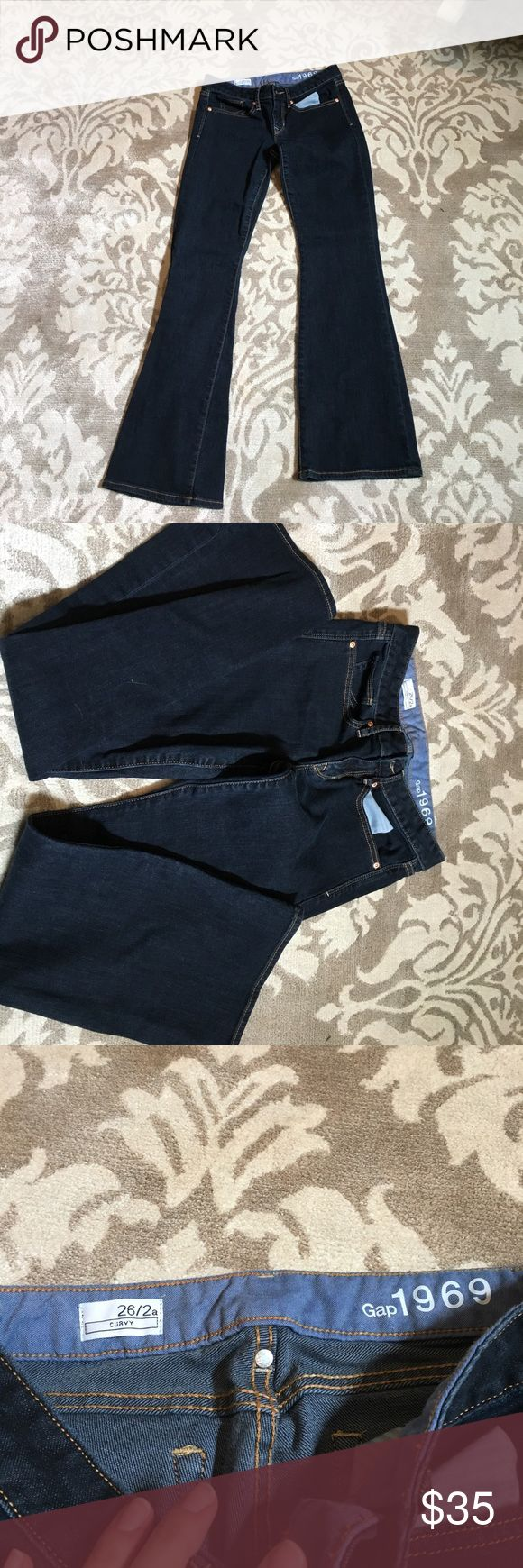 Gap boot cut curvy jeans size 26/2A Gap boot cut curvy jeans size 26/2A.  Like new condition worn and washed once, dark wash GAP Jeans Boot Cut